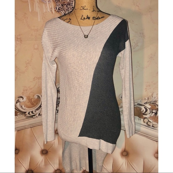 Express Sweaters - Express Ribbed Asymmetrical High/Low Sweater